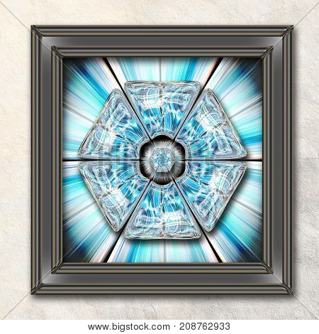 3D rendering combo artwork with flower fractal and fractal glossy buttons in elegant frame