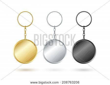 Keychain collection. Round shape. Goldensilver and black metallic keyholders.