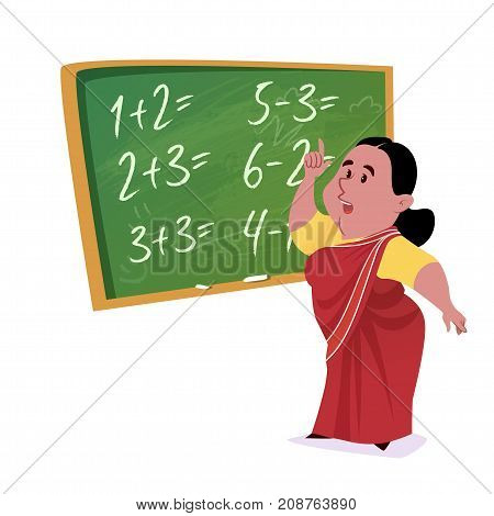 Indian School Teacher In Saree With A Green Chalkboard.