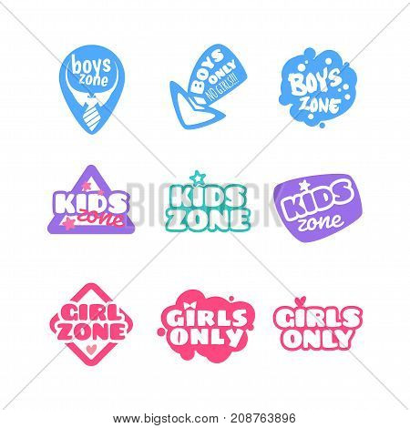 Set Of Cute Kids Badges