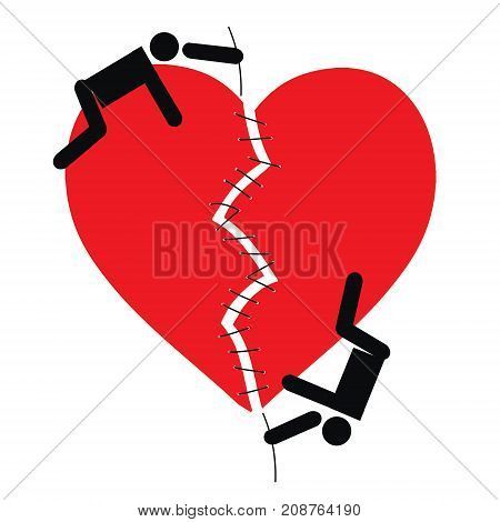 Vector cartoon image of a loving couple of people who sew a broken red heart on a white background. Love relationship psychology Vector Icon