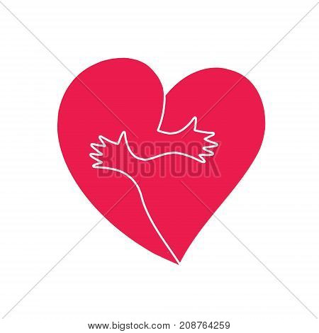 Hugs. Heart vector. Couple hugging freaks. Concept of love pattern for Valentines day