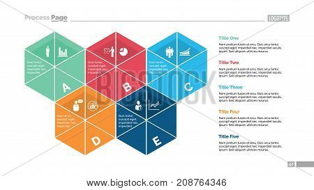 Five segmented hexagons process chart slide template. Business data. Structure, diagram, design. Concept for infographic, presentation, report. Can be used for topics like planning, statistics, research.