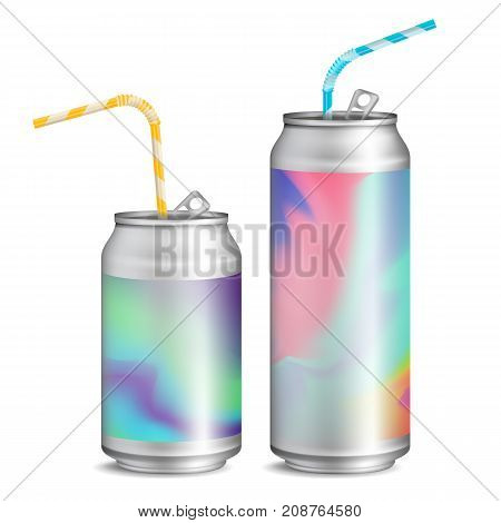 Realistic Metallic Can Vector. Soft Energy Drink. 3D Template Aluminium Cans. Colorful Drinking Straws. Different Types. Good For Branding Design. 500, 300, 250 ml. Isolated Illustration