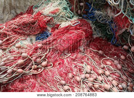 Background Of Many Fishing Nets With Floats Used To Fish