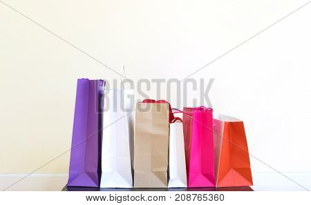 Shopping bag on the table White background