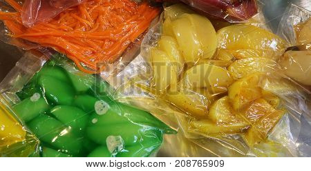 Vegetables Are Vacuum Packaged In Special Hermetic Containers