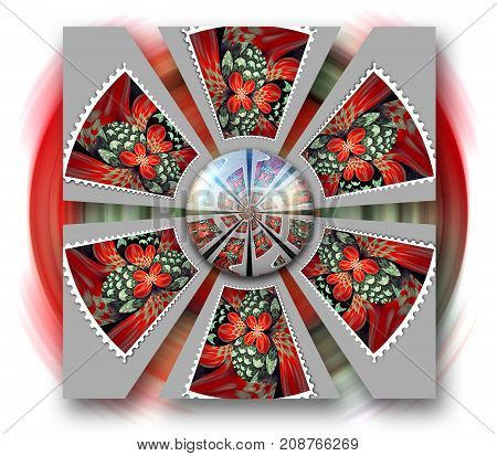 3D rendering combo artwork with circular fractal and fractal glossy button