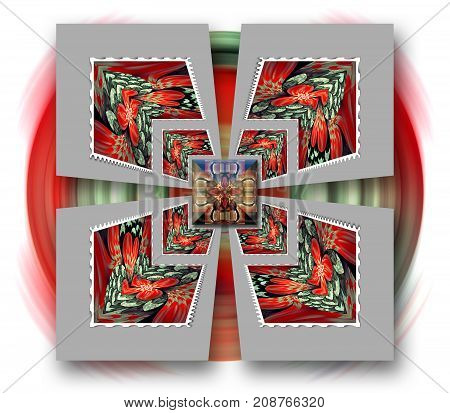 3D rendering combo artwork with fractal ornament and square fractal button