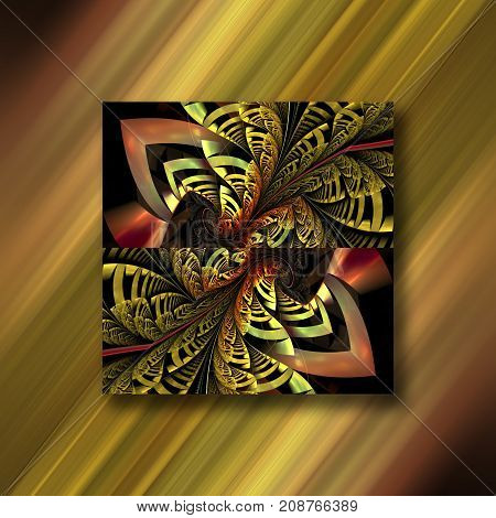 3D rendering combo artwork with square fractal ornament