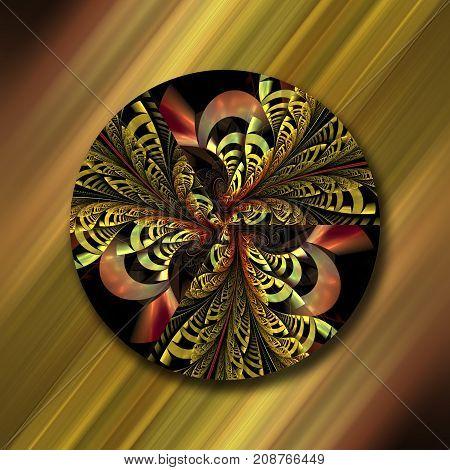 3D rendering combo artwork with circular fractal ornament
