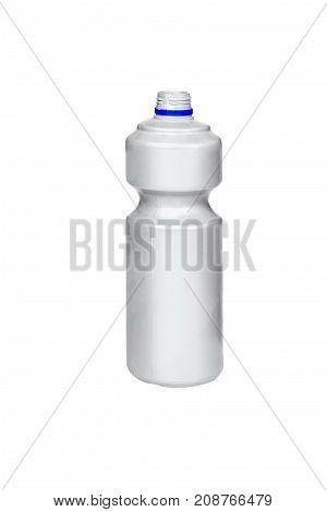 Gray plastic bottle isolated on white background