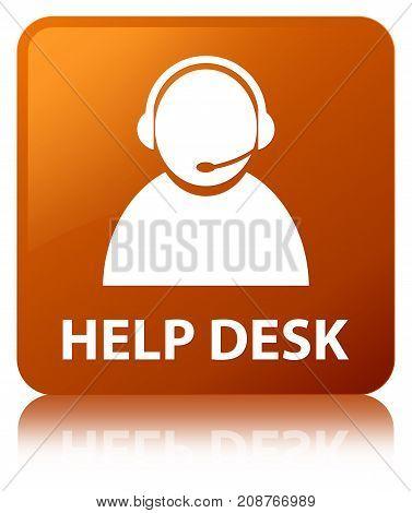 Help Desk (customer Care Icon) Brown Square Button