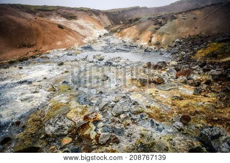 Geothermal fields in Iceland colorful and giving a special scent.