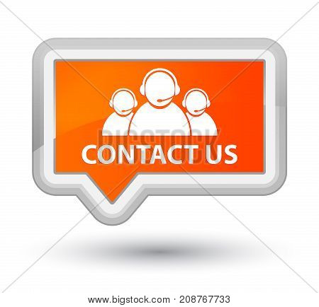 Contact Us (customer Care Team Icon) Prime Orange Banner Button