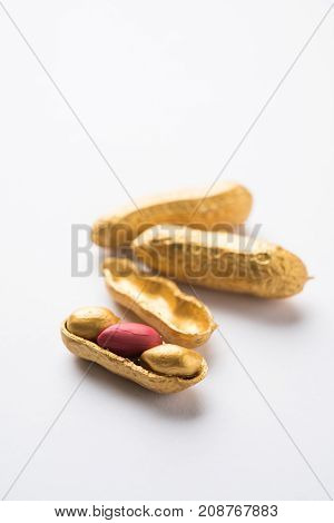 Concept of individuality, luck,value,exclusivity and better choice. Golden peanut or ground nut, standing out amongst normal peanuts, over black or white background Concept of individuality, luck,value,exclusivity and better choice. Golden peanut or groun