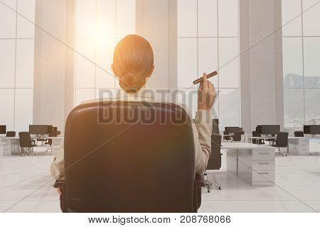 Rear view of female executive holding cigar against office furniture