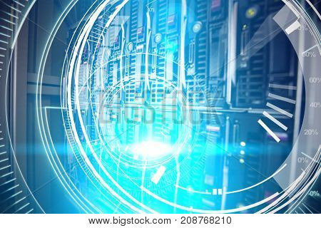 Interfaces dial in dark blue background with light blue radiance  against towers in server room