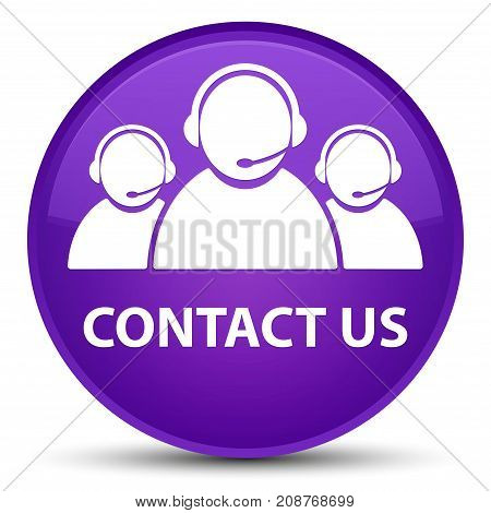 Contact Us (customer Care Team Icon) Special Purple Round Button