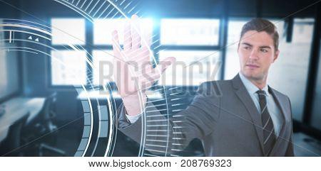 Businessman using futuristic digital screen against blue dial interface