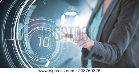 Businesswoman touching invisible digital screen against interface dial countdown with timer in blue background