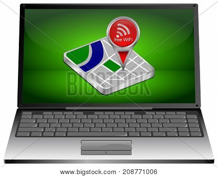 Laptop computer with red map pointer with free WiFi Symbol - 3D illustration