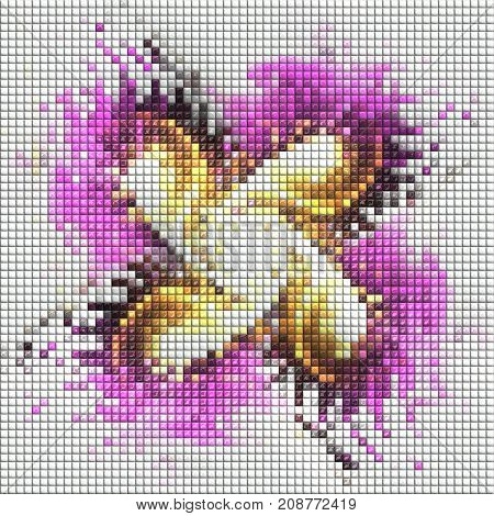 3D render of puff pixels fractal colorful four fold mill mosaic background