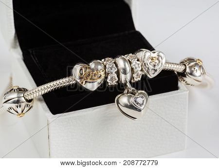 jewelry female bracelet in a gift box on a white background amulets jewelry macro