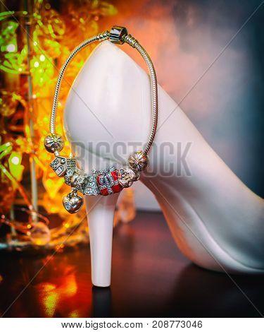 creative image jewelry female bracelet and souvenir white shoe amulets macro retro style