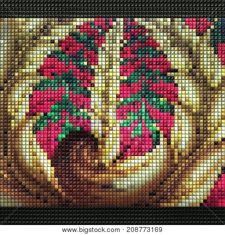 3D render of puff pixels fractal colorful flower ornament mosaic background