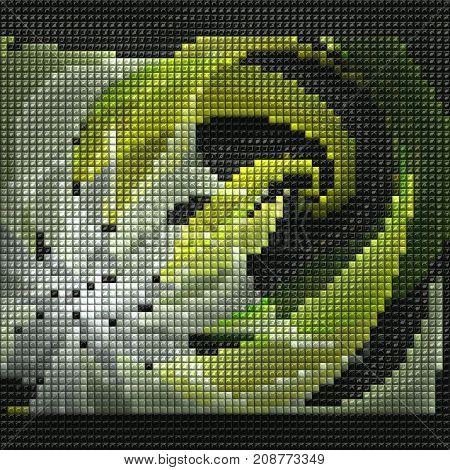 3D render of puff pixels fractal colorful semitransparent flower leaves mosaic background