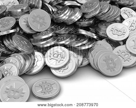 3d Illustration. Silver bitcoin. Image with clipping path