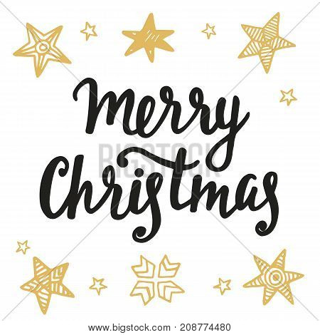Merry Christmas greeting card. Hand lettering in golden and black colors. Trendy typography design for placards, labels, badges, posters, banners. Modern calligraphy. Holiday vector illustration