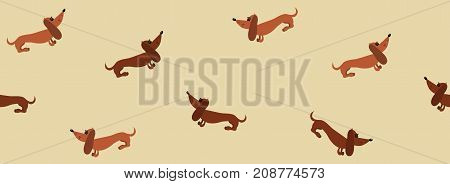 Seamless pattern with dachshund dogs on a beige background. Border. Seamless sample. It can be used as a background. Vector illustration.