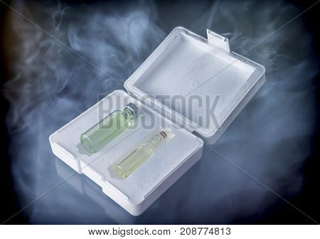 Isothermal box with two vaccines extracted of the freezer, conceptual image