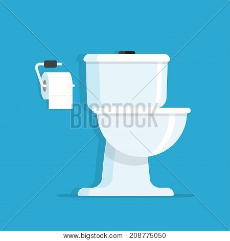 Washroom Toilet bowl with toilet paper roll. vector illustration isolated on blue background.