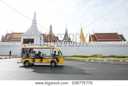 The Movement Of Cars That Drive Public Service At Sanam Luang.