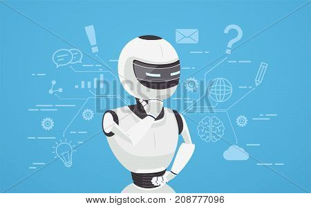 Chat bot thinks virtual robot assistance. Concept of chat bot a virtual online assistant.
