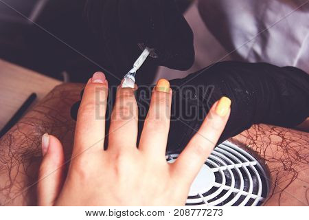 making nail extension, French manicure, Covering of enamel on raw nail extension
