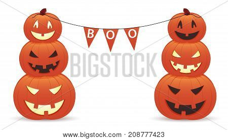 Funny smiling pumpkins with inscription boo on white background