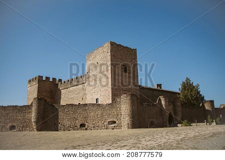 Castle of Pedraza, Segovia, Spain. Old  medieval fortress. Medieval village of Pedraza, Castilla-Leon. View of the castle of Pedraza. Walls of Pedraza castle.