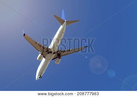 Airplane during the flight in the sky