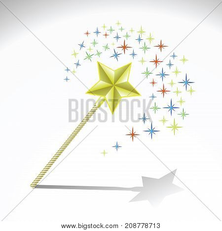 colorful illustration with magic wand for your design
