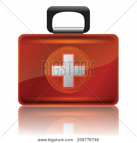 colorful illustration with red first aid case for your design