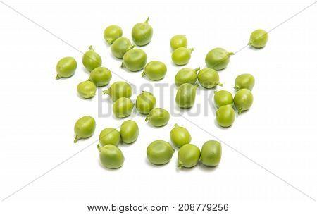 green fresh peas on a white background