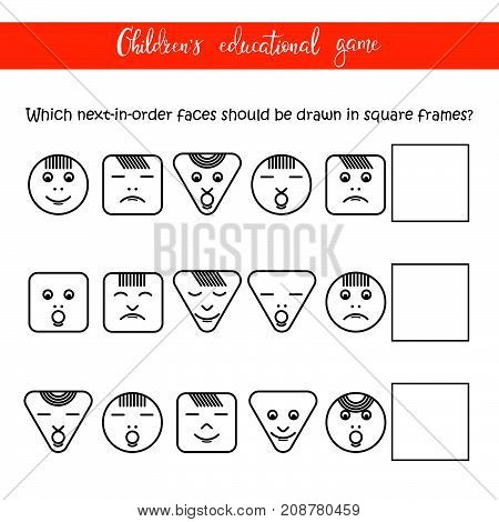 Children's educational game - Faces. The game develops attention logic perseverance. You can use it for a children's column of a magazine or a newspaper.