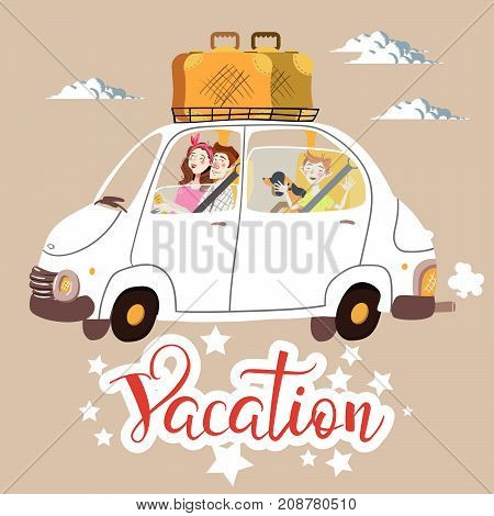 Stock Vector illustration Family in white car goes on vacation