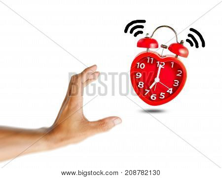 Hand holding alarm red clock  isolate on white background