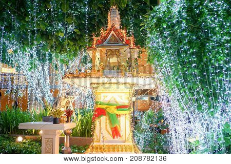 The shrine of Thailand at nightday is adorned with LED lights on the tree. This is so beautifully decorated.