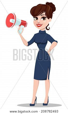 Young cartoon businesswoman. Beautiful lady holding megaphone. Fashionable modern business woman. Vector illustration